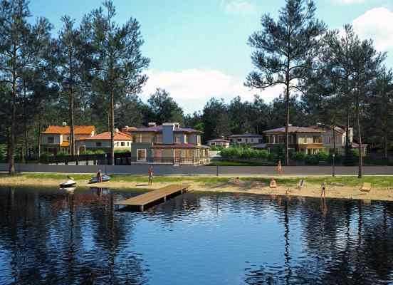 3d визуализация экстерьер, коттеджные дома в стиле райт, на берегу озера