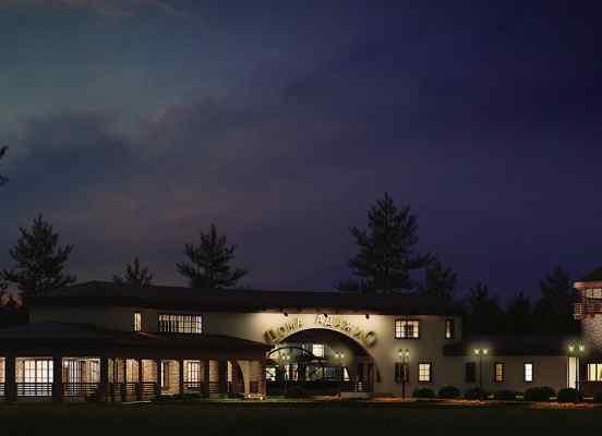 3d визуализация экстерьер, входная группа, дома Адажио, ночью