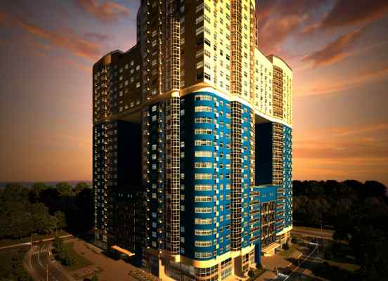 3d визуализация экстерьер жилой комплекс зодиак вечером