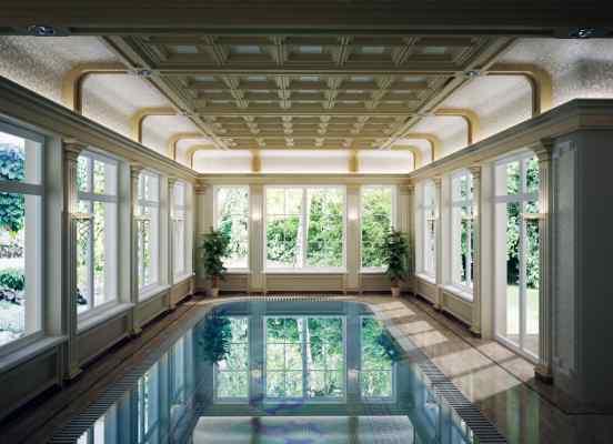 3d визуализация интерьер, бассейн, общий вид