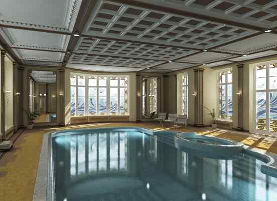 3d визуализация интерьер бассейн с витражами
