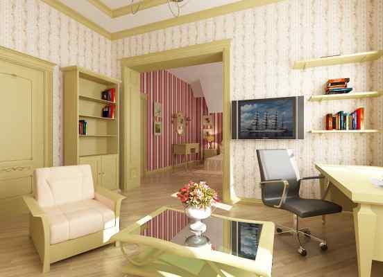 3d визуализация интерьер, детская на мансардном этаже