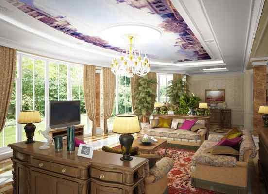 3d визуализация интерьер, гостиная