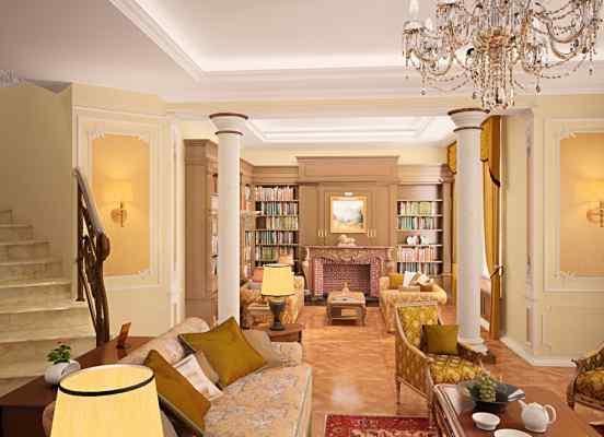 3d визуализация интерьер, каминная, вид из гостинной