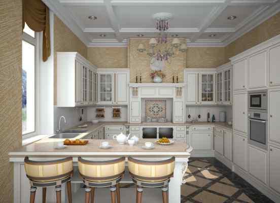 3d визуализация интерьер, кухня