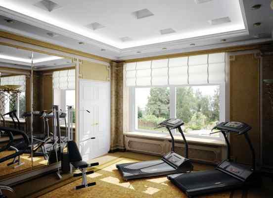 3d визуализация интерьер, спортзал, вид на окна