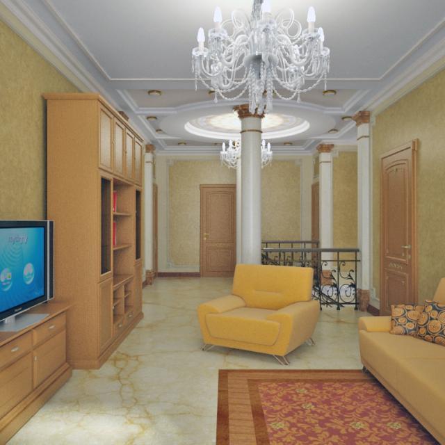 3d визуализация интерьер, холл, 2й этаж, вид от окна