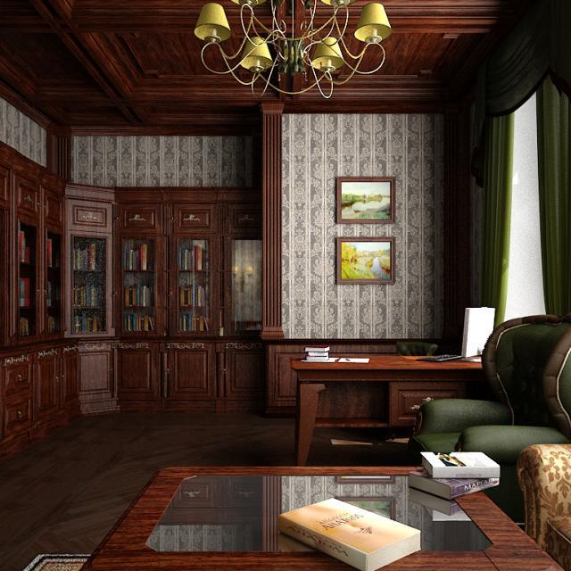 3d визуализация интерьер кабинет вид с дивана