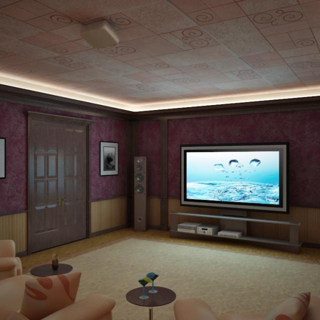 3d визуализация интерьер, кинотеатр в загородном доме, вид на экран