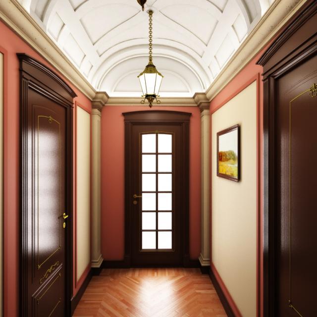 3d визуализация интерьер, прихожая, вид на входную дверь