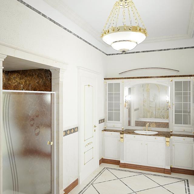 3d визуализация интерьер, ванная