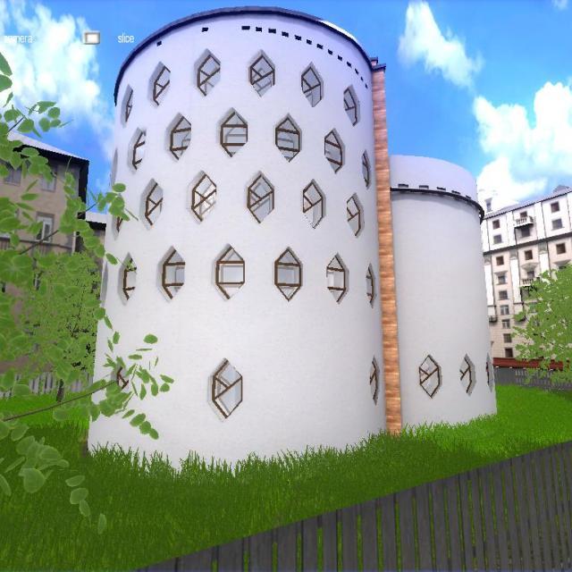 Интерактивный виртуальный 3d тур, Дом Архитектора Мельникова фасад